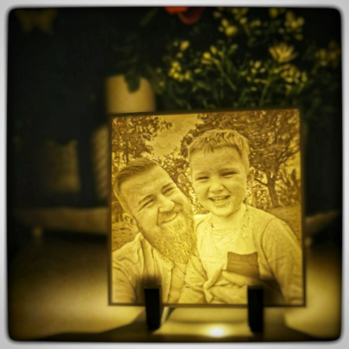 Father and son Lithophane beleuchtet